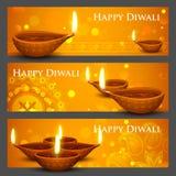 Diwali Holiday banner. Illustration of burning diya on Diwali Holiday banner royalty free illustration