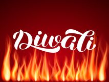Diwali holiday lettering, Vector illustration with flame. Fire vector illustration