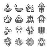 Diwali icon set. Happy diwali festival and celebration icon set,vector and illustration vector illustration