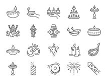 Diwali icon set. Included icons as Deepavali celebrate, light festival, candle, lamp, Hindu celebration, hinduism and more. Vector and illustration: Diwali icon vector illustration