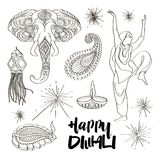 Diwali icons set Royalty Free Stock Photos