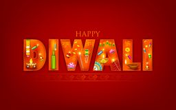 Diwali. Illustration of Diwali background with puja object