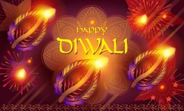 Diwali india fireworks festival. Happy Diwali lights festival poster with text and burning diya - oil lamps traditional symbol, fireworks, mandala decorative Stock Images