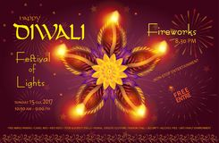 Diwali india. Happy Diwali lights festival poster with text and burning diya - oil lamps traditional symbol, fireworks, mandala decorative ornament, abstract Royalty Free Stock Photography