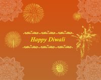 Diwali Indian Festival Greetings Background Poster Banner. Card , with light brown and yellow gradient showing Fireworks and Classic Traditional Pattern stock illustration