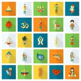 Diwali. Indian Festival Icons. Simple and Minimalistic Style. Vector royalty free illustration