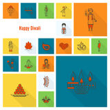 Diwali. Indian Festival Icons Stock Photography