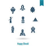 Diwali. Indian Festival Icons Stock Images