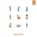 Diwali. Indian Festival Icons Stock Photo