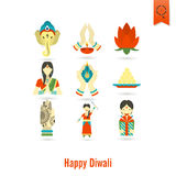 Diwali. Indian Festival Icons Royalty Free Stock Image