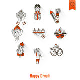 Diwali. Indian Festival Icons Royalty Free Stock Images