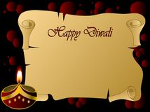 Diwali lamp. Diwali background with lamp and scroll royalty free illustration