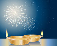 Diwali lamp. An illustration of two fancy diwali lamps under a starry sky with fireworks Stock Photo
