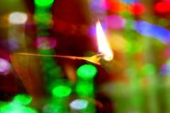 Diwali lampa och färger Arkivfoto
