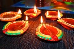Diwali lampor Arkivbilder