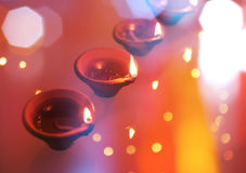 Diwali lamps. An abstract and colorful Diwali Greeting card background Stock Photos