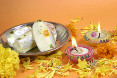 Diwali lamps and sweets royalty free stock photography