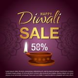 Sale Poster for Festival of Diwali Celebration Background. Diwali lantern and sale text Stock Photos