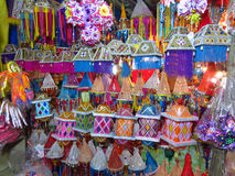 Diwali Lantern Shop. A store full of beautiful colorful lanterns designed in a traditional way for Diwali festival in India Royalty Free Stock Image