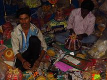 The Diwali Lanterns Handicraft Factory royalty free stock image