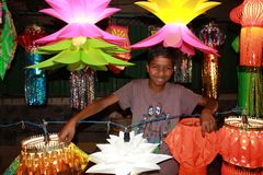 The Diwali Lanterns Handicraft Factory. Indian craftsmen make traditional Diwali lanterns in their factory in India Stock Image