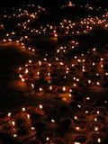 Diwali Lights. Hundreds of traditional lamps lit up on the occassion of Diwali festival in India