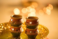 Diwali lights and diyas stock photo