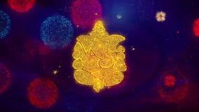 Diwali Lord Ganesh Greeting Text Sparkle Particles em fogos de artifício coloridos
