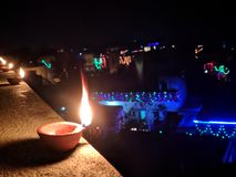 Diwali, noche, escena maravillosa de la noche, lo ama foto de archivo