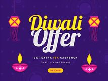 Diwali offer with extra 15% cashback, advertising poster or bann. Er design with illuminated oil lamps and paper lamp (kandil) hang on purple background royalty free illustration