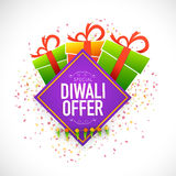 Diwali Offer poster, banner or flyer design. Creative poster, banner or flyer design with shiny colourful gift box and ribbon for Special Diwali Offer Stock Photo