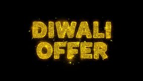 Diwali Offer Text Sparks Particles on Black Background.