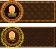 Diwali Oil Lamps With Mandala Design. With matching borders, easily Stock Photography