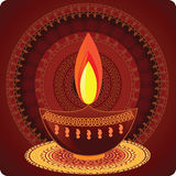 Diwali Oil Lamps With Mandala Design. With matching borders, easily