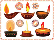 Diwali Oil Lamps With Mandala Design. With matching borders, easily Stock Photos