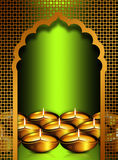 Diwali oil lamps overgreen  background Royalty Free Stock Photos