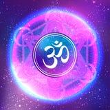 Diwali Om symbol with mandala . Round Pattern. Vintage style dec Royalty Free Stock Photo