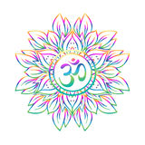 Diwali Om symbol with mandala . Round Pattern. Vintage style dec Royalty Free Stock Photo