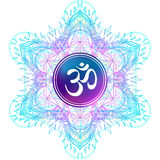 Diwali Om symbol with mandala . Round Pattern. Vintage style dec Royalty Free Stock Image