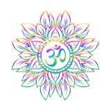 Diwali Om symbol med mandalaen mönstrad runt Tappningstil december stock illustrationer