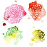 Diwali OM symbol on watercolor background. Vintage style decorative  elements. Hand drawn background royalty free illustration