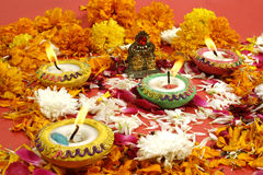 Diwali prayer arrangement. Beautiful traditional lamps lit up for prayer on the occassion of Diwali festival in India