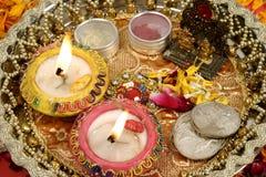 Diwali prayer arrangement. Close up of Diwali prayer arrangement, traditional Indian festival stock images