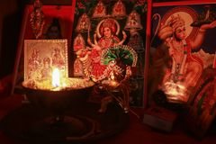 Diwali Puja. Diwali or Deepawali is a festival of light and prosperity and celebrated widely in India and at many parts of the world stock photos
