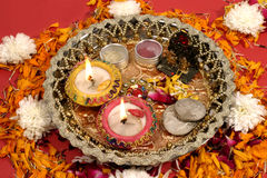 Diwali puja, traditional Indian festival. Traditional Indian festival Diwali decoration Royalty Free Stock Images
