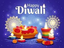 Diwali Realistic Background. Realistic sparkling blue background with different objects for celebrating indian diwali holiday vector illustration Stock Photo