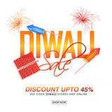 Diwali Sale Banner or Poster. Diwali Sale Poster, Bumper Dhamaka Sale Flyer or Banner, Vector Clearance Offer illustration with colourful Firecrackers, Discount Royalty Free Stock Photography