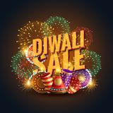 Diwali sale banner voucher with crackers and fireworks. Vector Royalty Free Stock Images