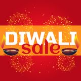 Diwali sale celebration background with diya and fireworks. Vector Royalty Free Stock Photo