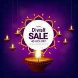 Diwali sale with 40-60% discount offer, realistic illuminated oi. L lamps on shiny purple background. Advertising template or flyer design stock illustration